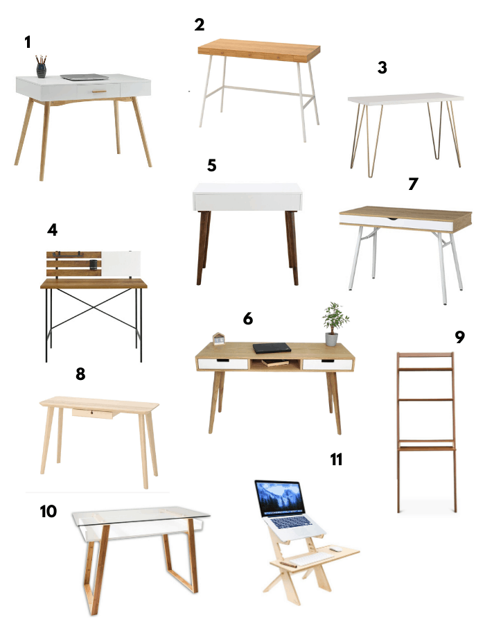 11 Minimalist, functional and beautiful desks for your home.  Great for working from home WFH