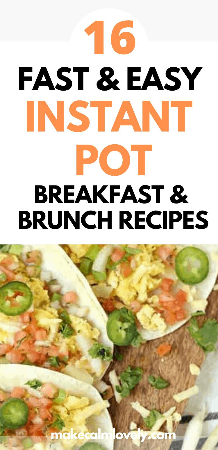 Instant Pot Breakfast and Brunch recipes