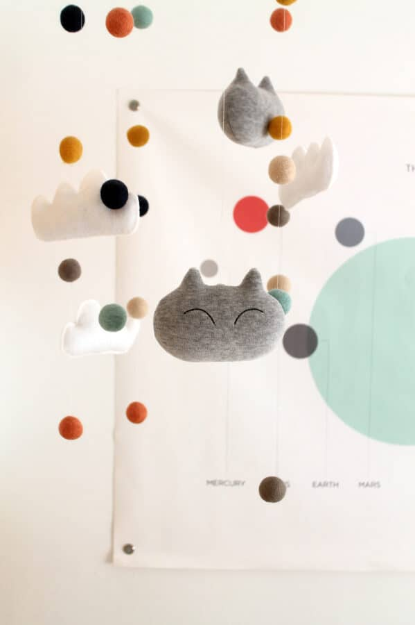 clouds and cats felt nursery mobile.