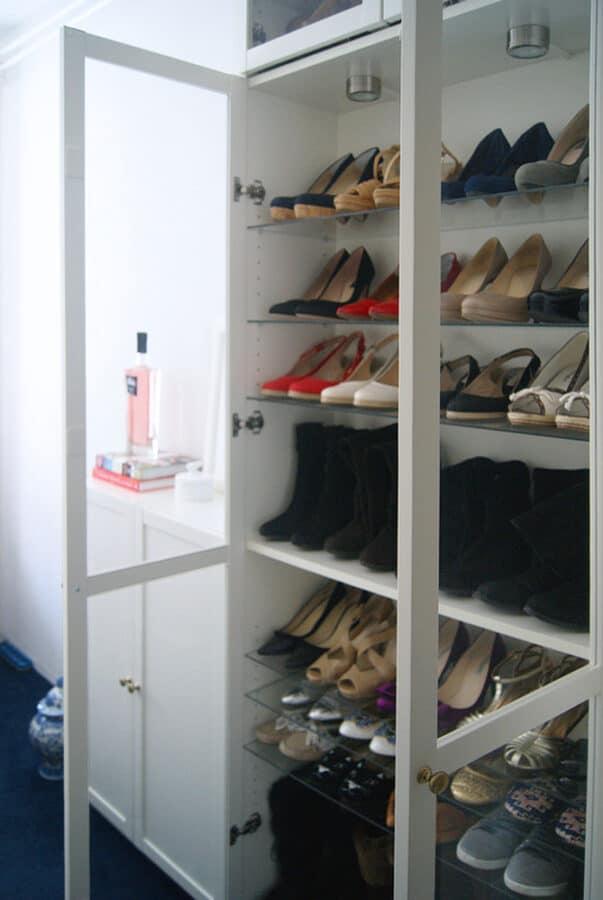 White Billy shoe cabinet IKEA hack.