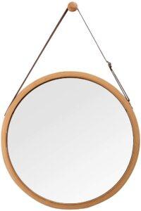 Round hanging mirror.