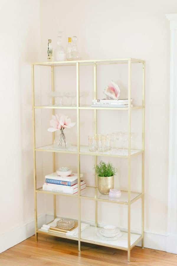Gold and Marble IKEA shelf hack