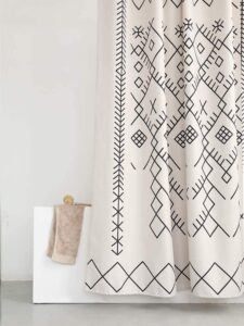 Moraccan fabric shower curtain.