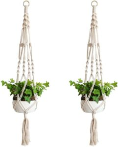 2 macrame plant hangers.