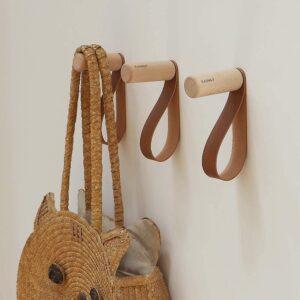 Wooden coat hook.