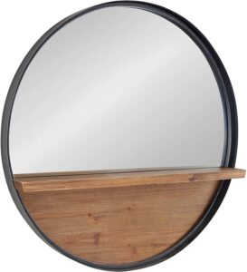 Metal framed mirror with wooden shelf.