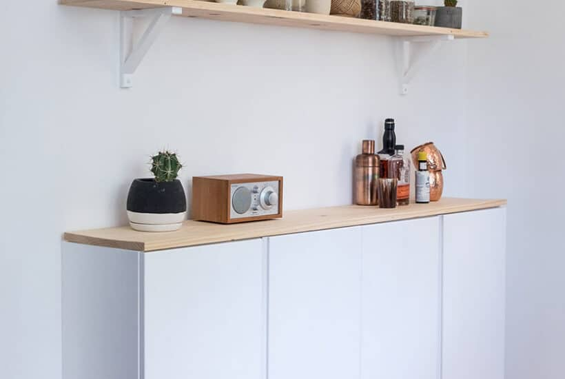White and wood minimal wall cabinet.