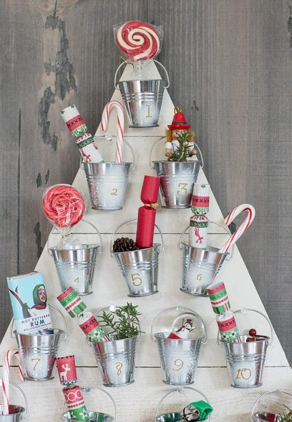 Wooden and bucket advent calendar