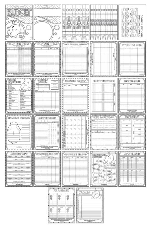Printable Budget Coloring Pack
