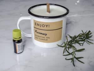 White enamel tin mug candle.