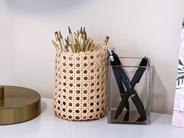 DIY Rattan cane webbing pen holder