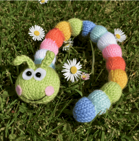 Knitted rainbow caterpillar