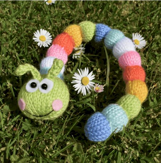 Knitted rainbow caterpillar