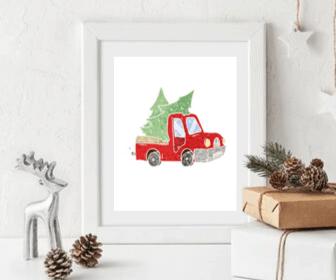Christmas Truck & Tree Free Printable