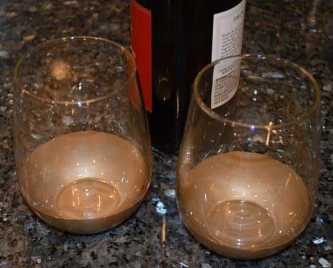 DIY Glam Gold Dipped Wine Glasses