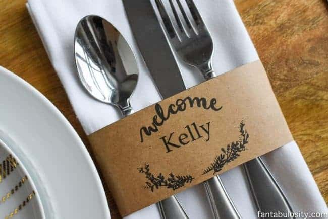 Printable place card setting