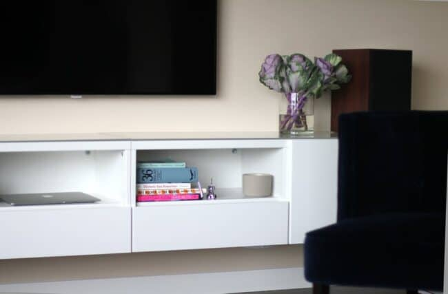 White floating wall cabinet.