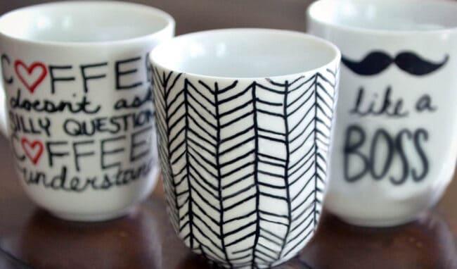 Mugs with sharpie designs.