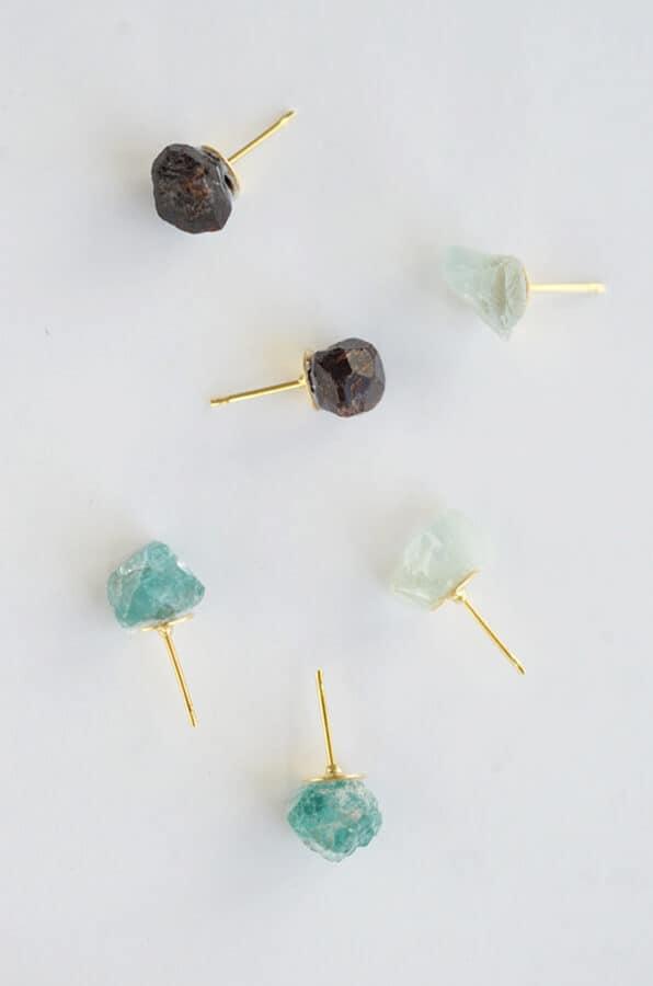 Raw stone earrings.