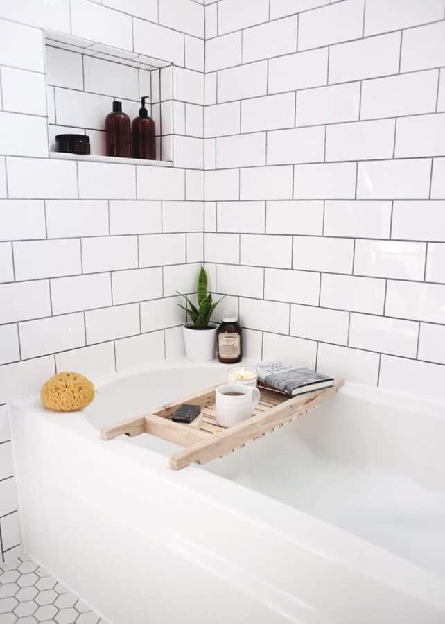 Wooden bathtub caddy.