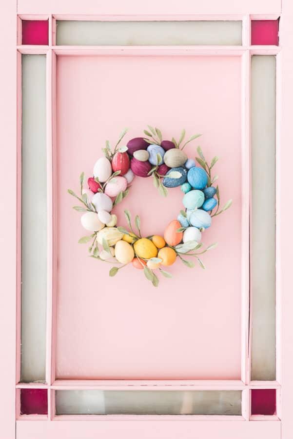 Rainbow colors Easter Egg Wreath.