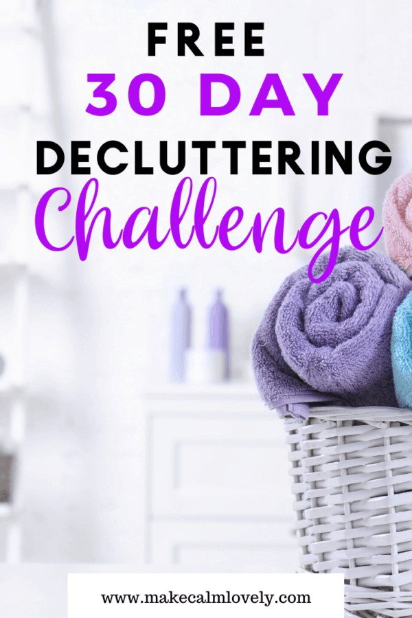 Free 30 day Decluttering Challenge #Decluttering #declutter #challenge #free challenge #clutter free #home organization