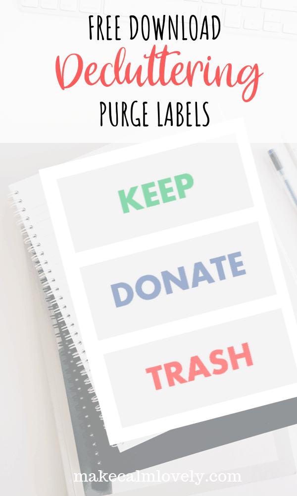 Free download. Decluttering purge labels #declutter #organization