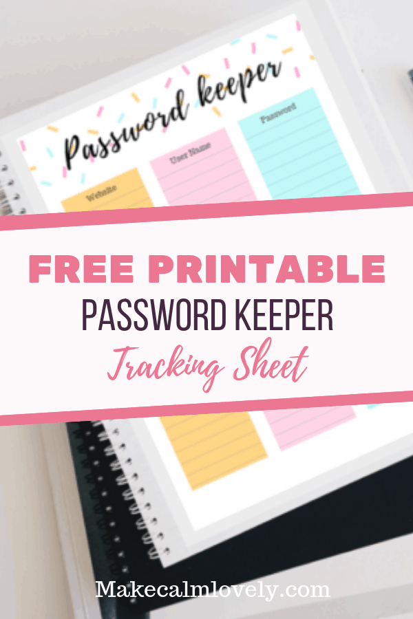 Free printable Password keeper tracking sheet