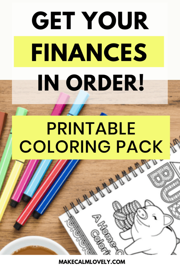 Get your Finances in order Printable Coloring Pack