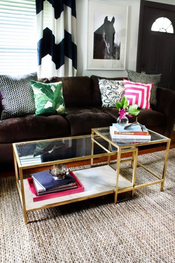 Gold nested coffee tables.