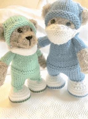 Knitted hero bear