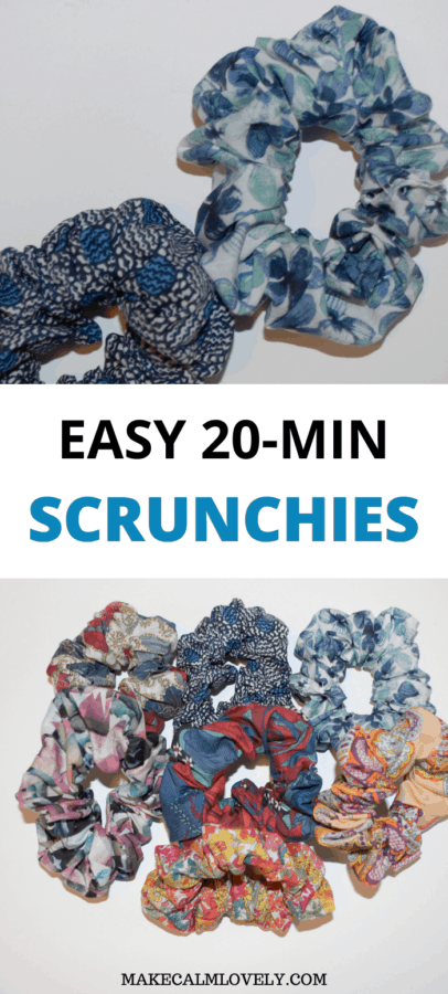Easy Fast DIY fabric headband scrunchies! These scrunchies are so easy to sew. You can sew a complete scrunchie in about 20 minutes! Perfect for beginners, and the perfect stash buster!