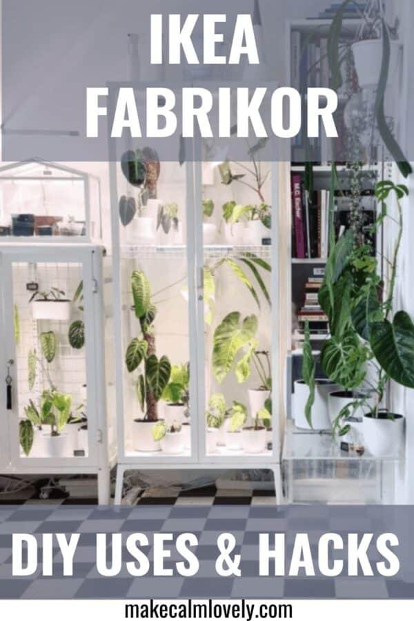 White glass door cabinet full of plants.