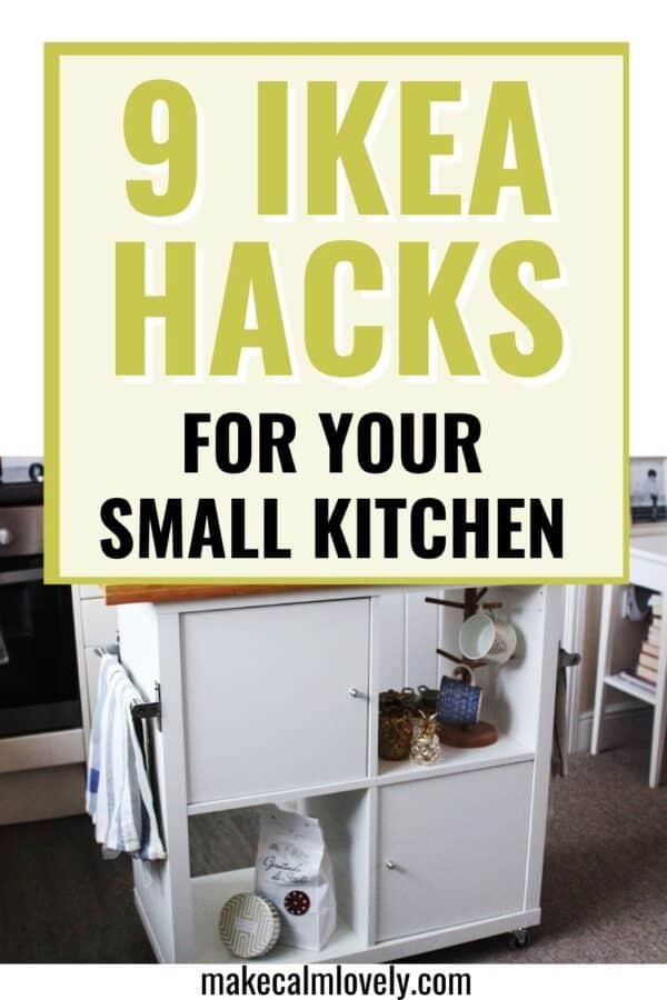 Kitchen island IKEA hack made from Kallax unit.