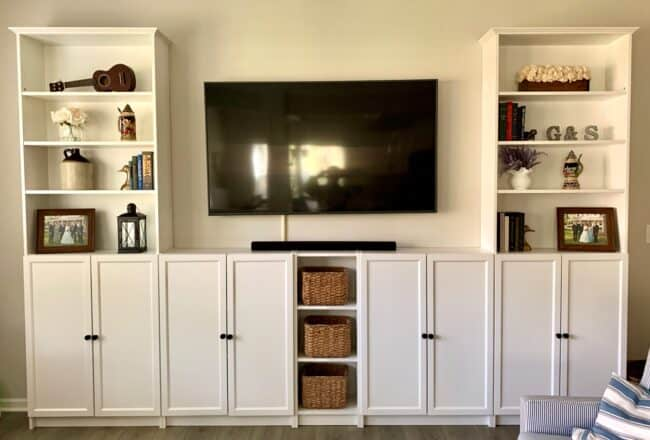 White fitted shelving cabinets.
