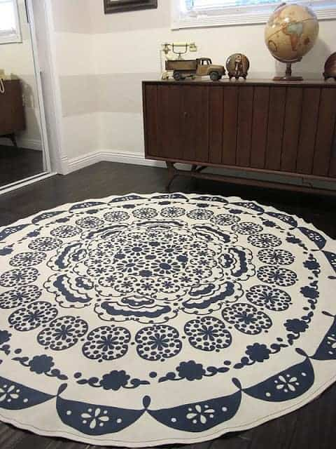 blue and white rug on a floor