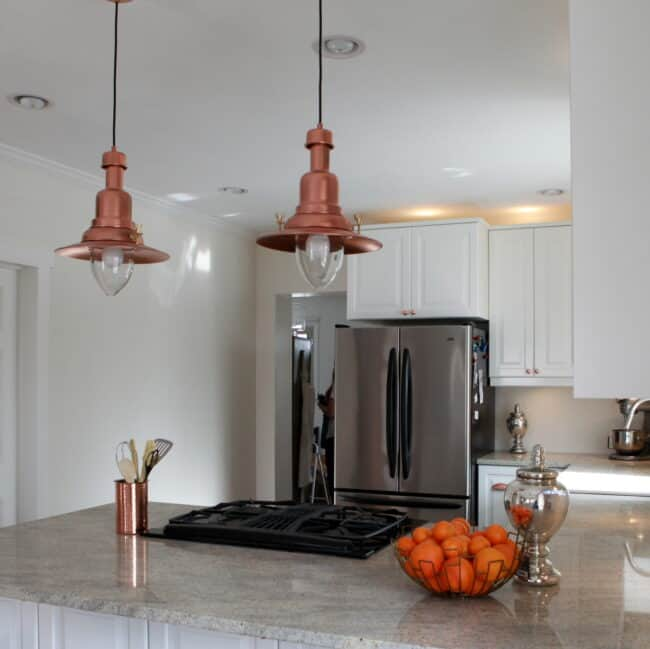 Copper pendant lights.