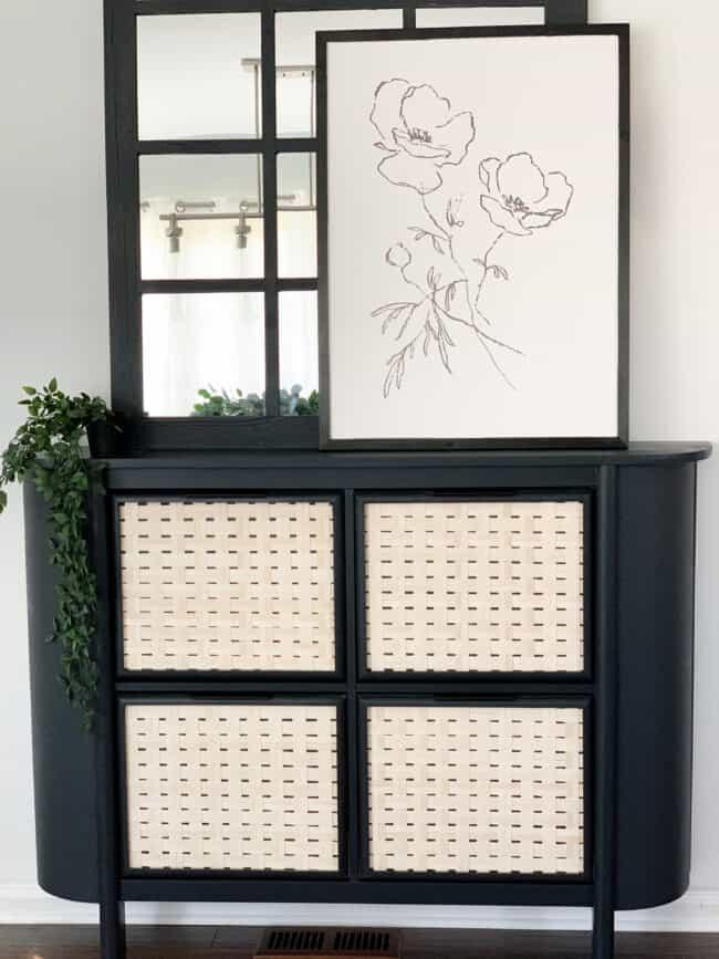 Black and cane drawer front Hemnes shoe storage unit rounded.