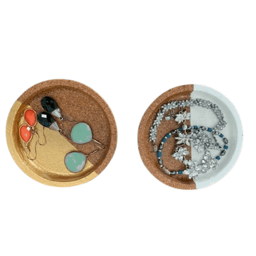 Painted cork jewelry dishes