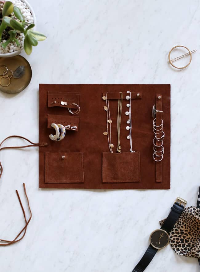 Brown leather jewelry roll