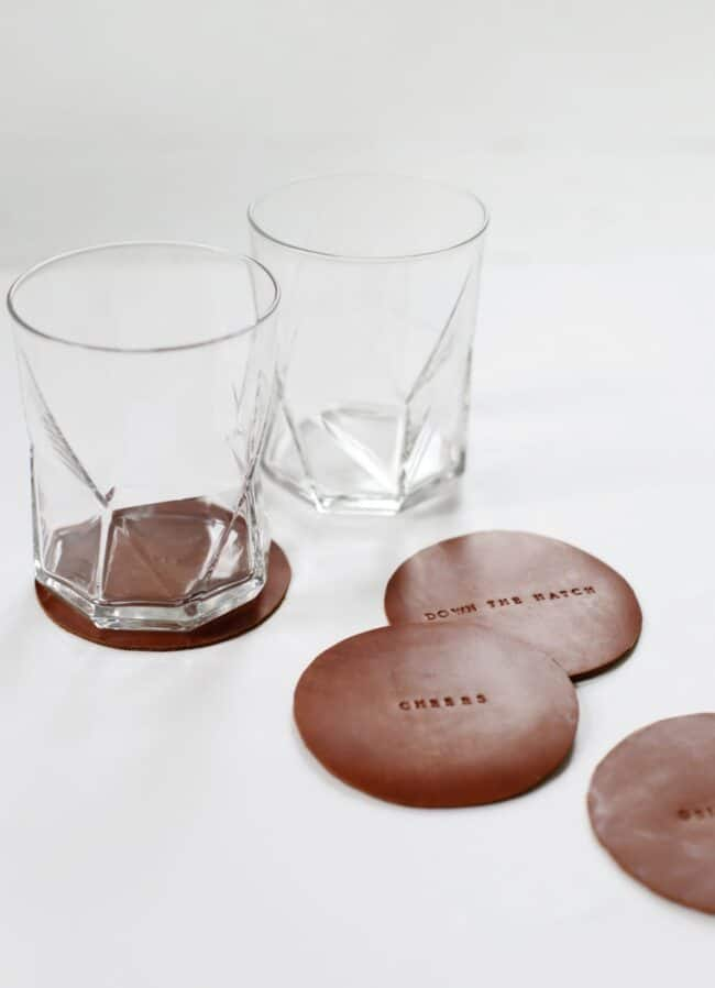 Brown leather coasters