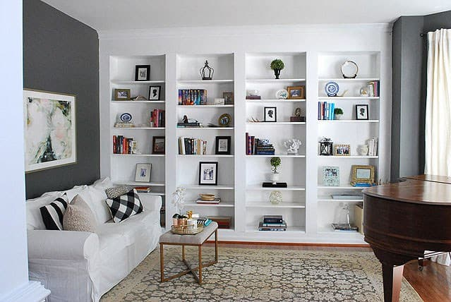 White fitted shelves.