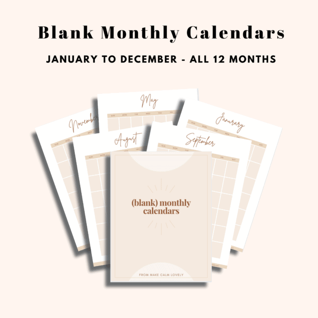 Undated monthly calendar pages