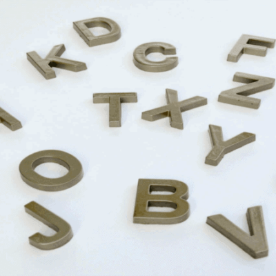 DIY glitzy gold alphabet magnets