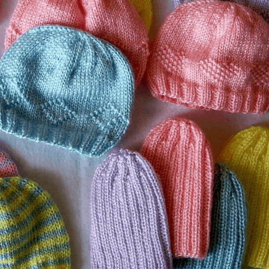 Knitted preemie hats