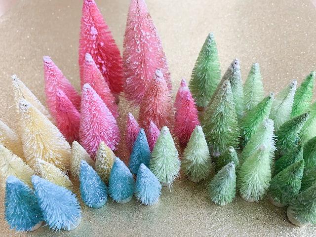 Colored bottle brush trees