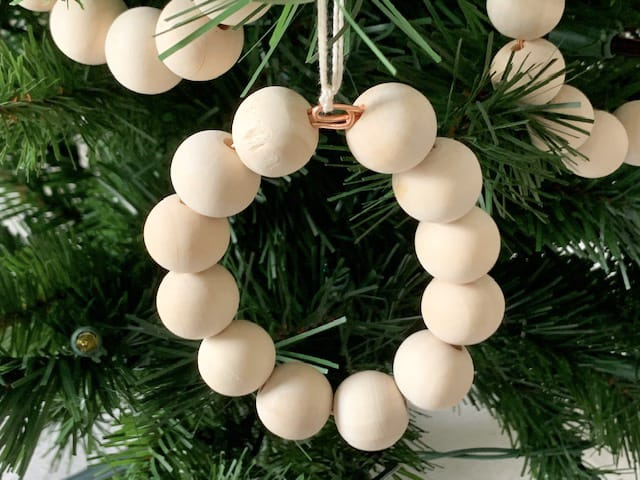 Minimal Wooden Bead Scandi Style Christmas Ornaments