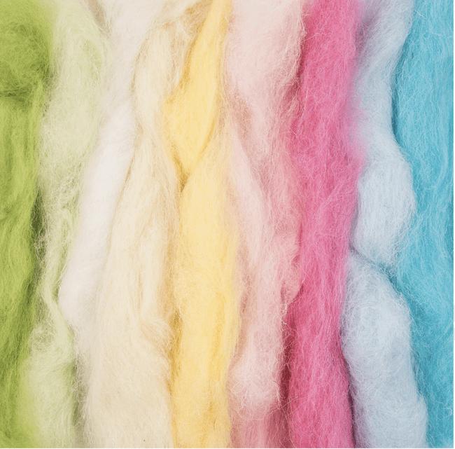 Colored felting wool