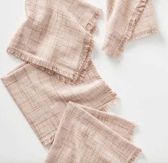 Pink cloth napkins.