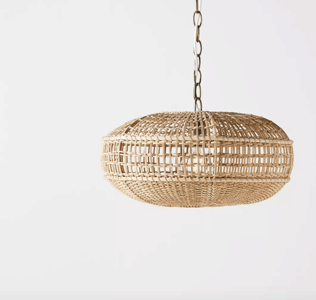 Hanging rattan pendant light fitting.